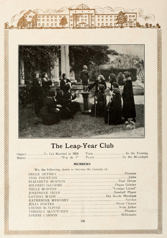 Members of the Leap Year Club, Flora MacDonald College, 1924