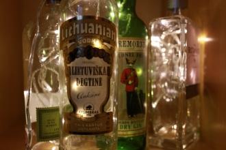 Illuminated vodka and gin bottles